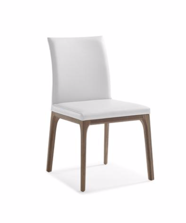 Elise Chair in Walnut with white leather