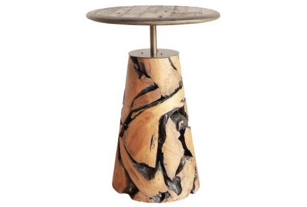 Maya Reclaimed Teak Wood Side Table, Natural