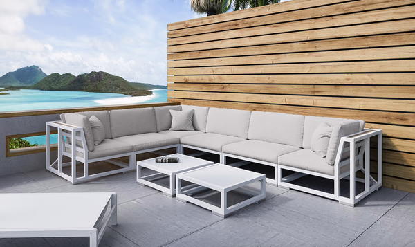 Sahara 4pc Outdoor Sofa in white and light grey cushion