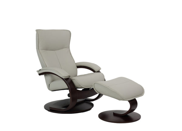 Senator C Leather Reclining Chair in Shadow Grey