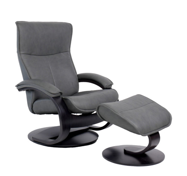 Senator C Leather Reclining Chair in Grey