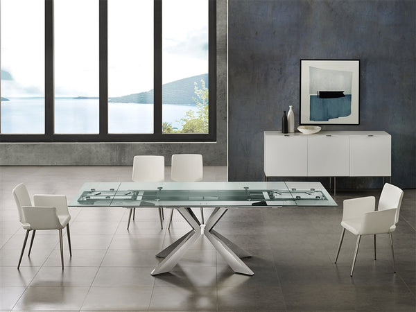 Igor extendable motorized dining table in clear glass
