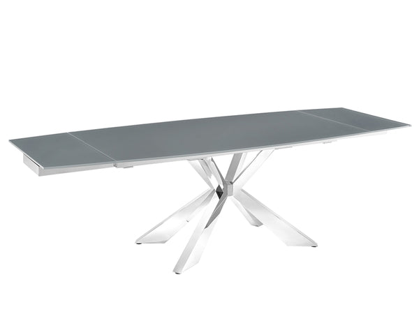 Igor extendable motorized dining table in gray glass