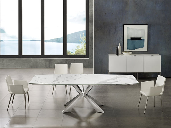 Igor extendable motorized dining table in white marbled porcelain top
