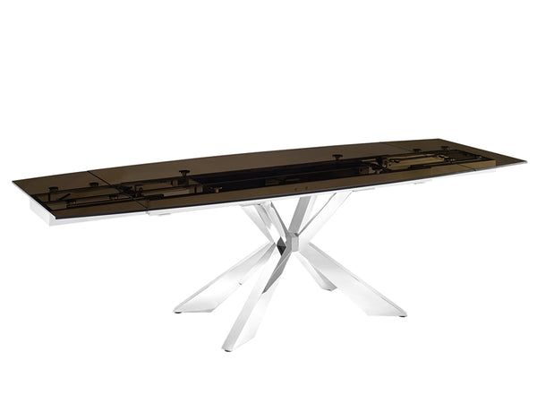 Igor extendable motorized dining table in smoked glass