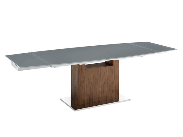 Oscar extendable motorized dining table in gray glass with walnut