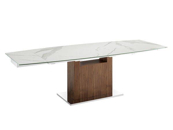 Oscar extendable motorized dining table in white marbled porcelain top
