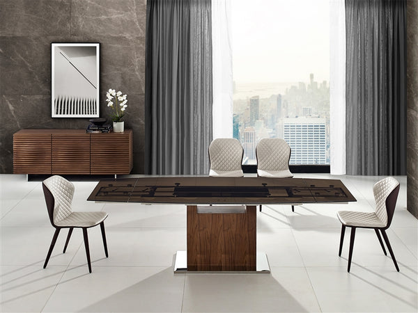 Oscar extendable motorized dining table in smoked glass with walnut base