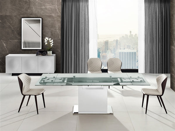 Oscar extendable motorized dining table in clear glass