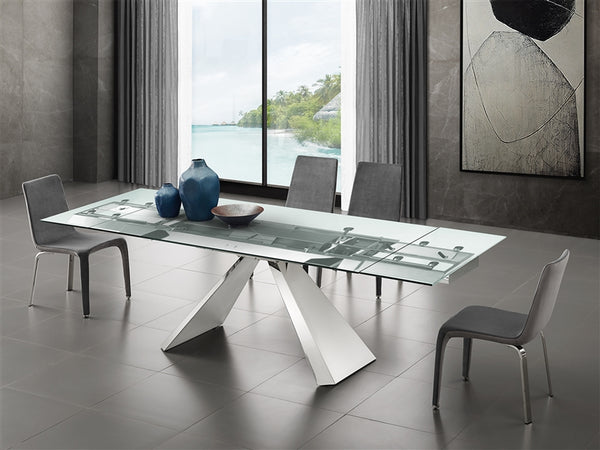 Souza extendable motorized dining table in clear glass