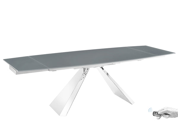 Souza extendable motorized dining table in gray glass