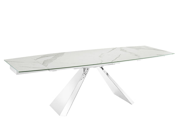 Souza dining table in white marbled porcelain top