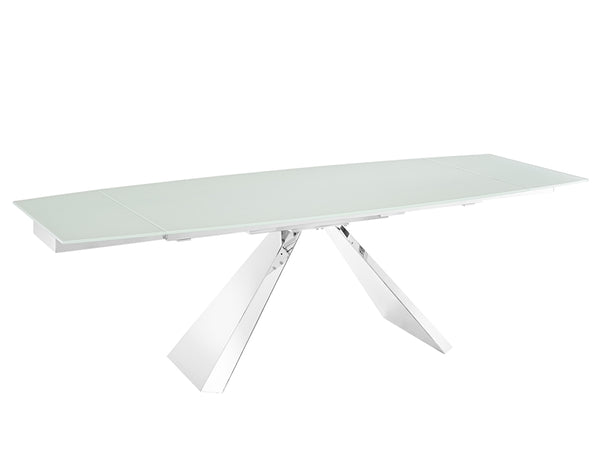 Souza extendable motorized dining table in white glass
