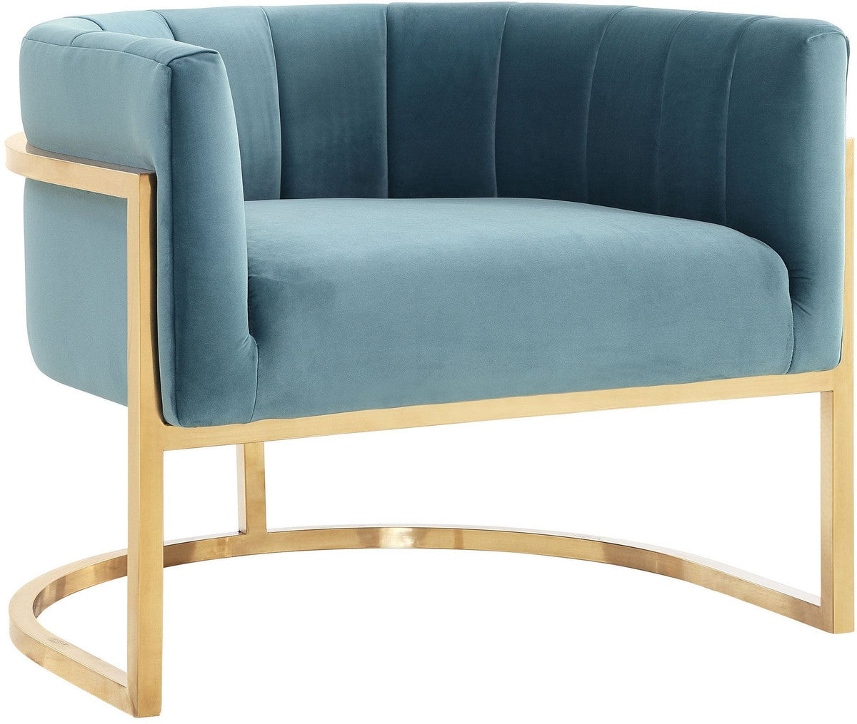 Magna Sea Blue Chair with Gold Base