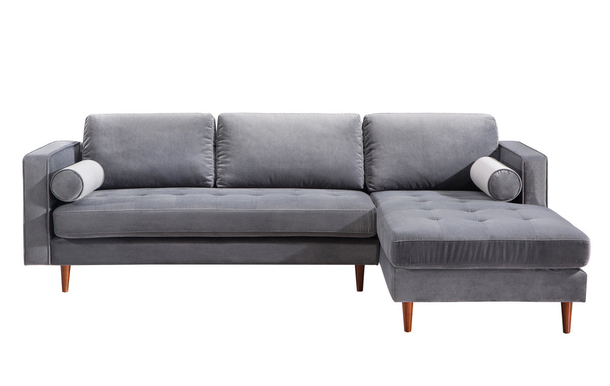 Felipe Grey Velvet Sectional