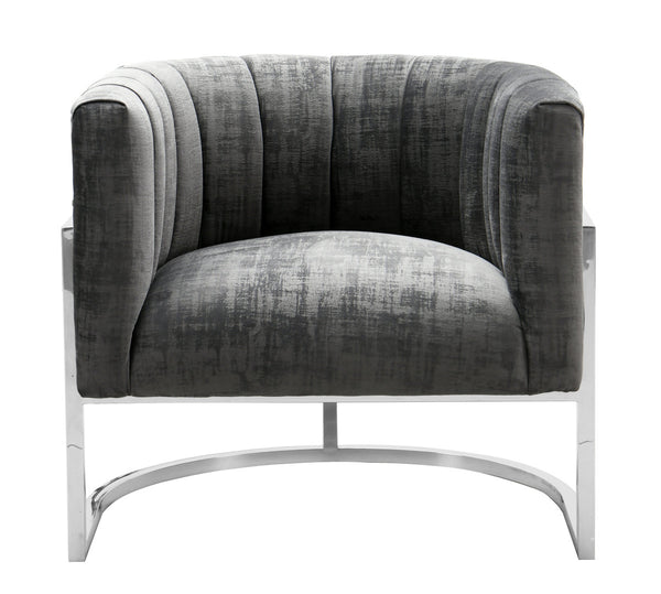 Magna Grey Chair with Silver Base