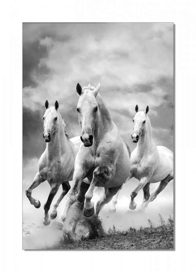 White Horses Tempered Glass Wall Art