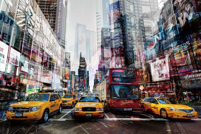 Yellow Cabs in Manhattan Tempered Glass Wall Art