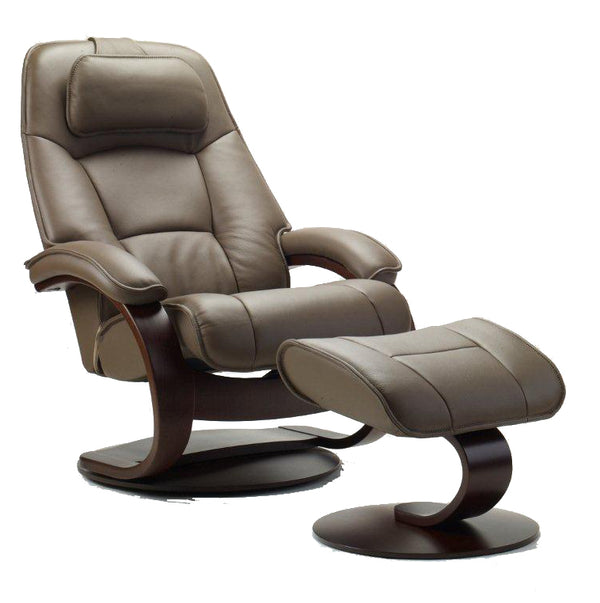 Admiral C Leather Reclining Chair in Safari