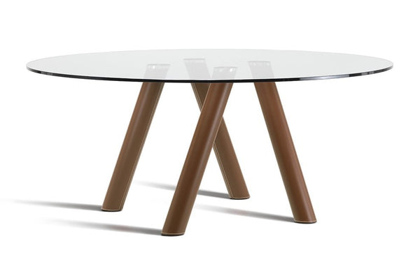 "Ray Leather Dining Table - 70""Dia"