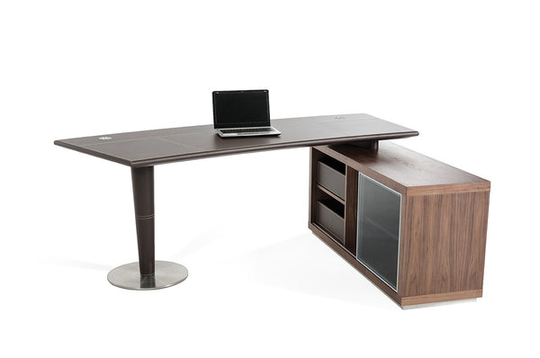 Laster Modern Office Desk and Side Storage Cabinet