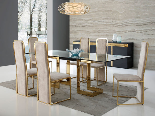 "Zen 87"" Rectangular Gold Dining Table"