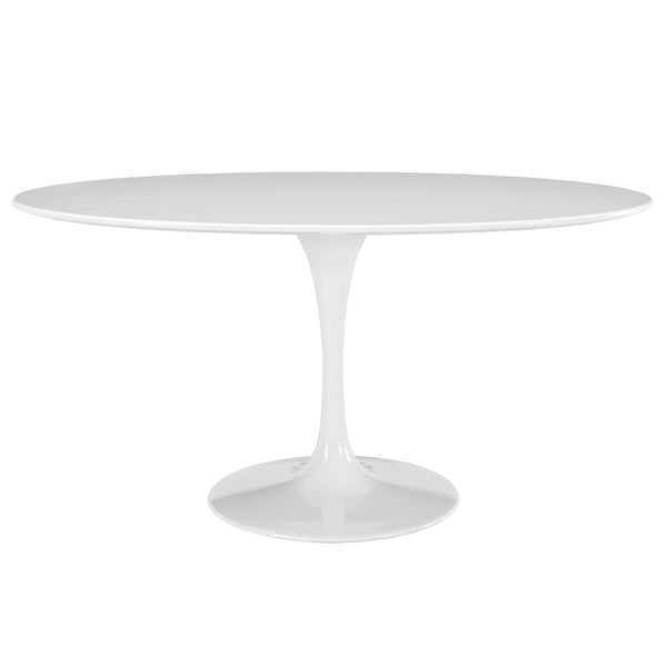 "Lola 60"" Oval Wood Top Dining Table in White"
