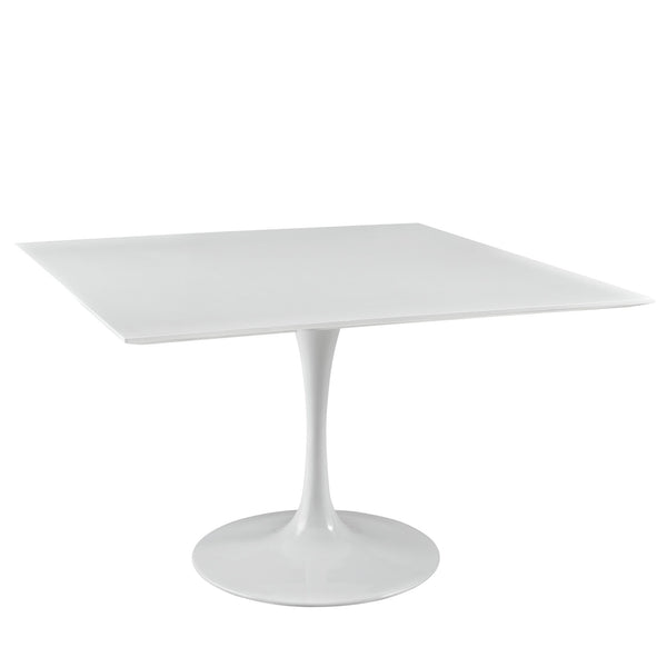 "Lola 47"" Square Wood Top Dining Table in White"