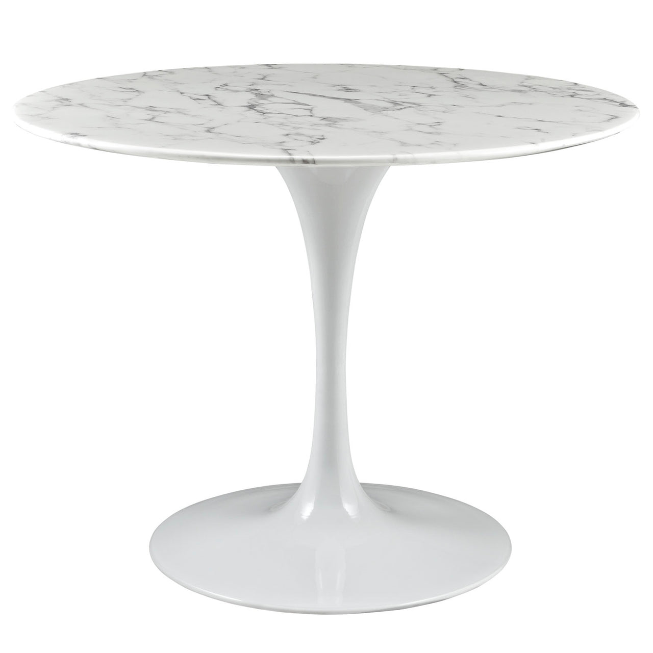 "Lola 40"" Round Artificial Marble Dining Table in White"
