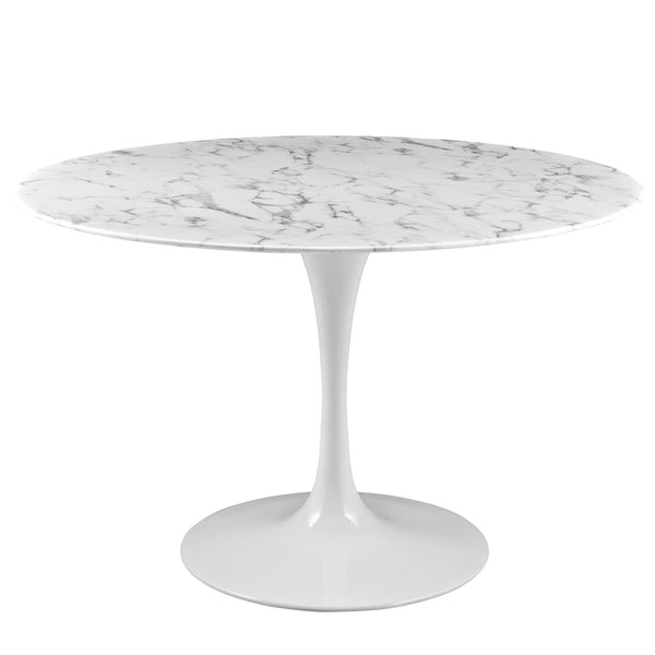 "Lola 47"" Round Artificial Marble Dining Table in White"
