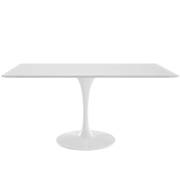 "Lola 60"" Rectangle Wood Dining Table in White"