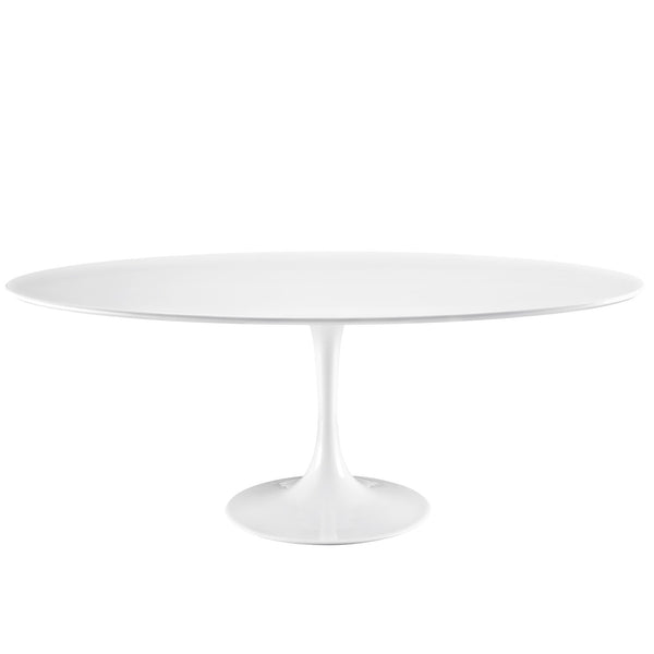 "Lola 78"" Oval Wood Top Dining Table in White"