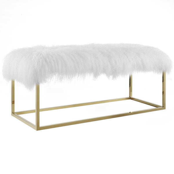 Anika White Sheepskin Bench in Gold