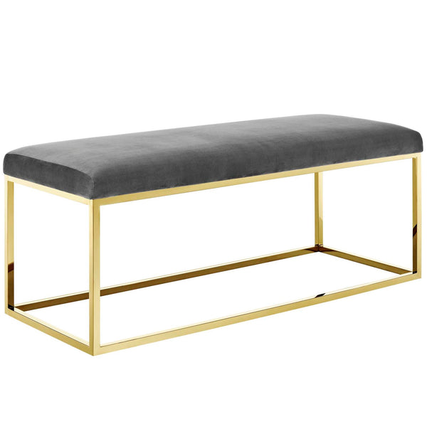 Anika Fabric Bench in Gold Grey