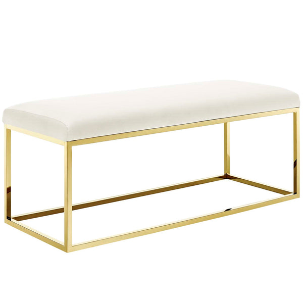 Anika Fabric Bench in Gold Ivory