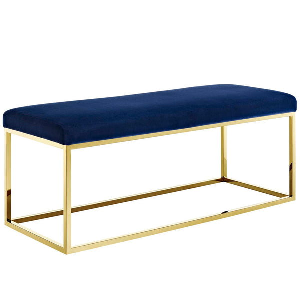 Anika Fabric Bench in Gold Navy