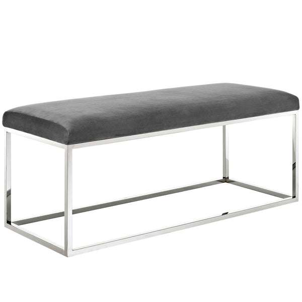 Anika Velvet Bench in Gray