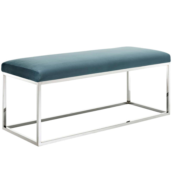 Anika Velvet Bench in Sea Blue