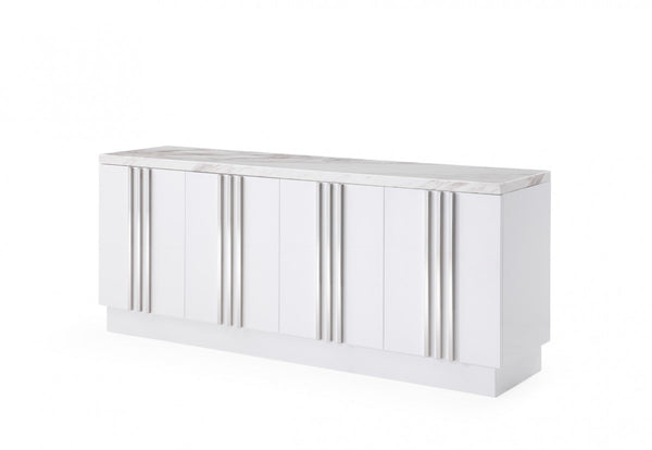 Luxe Modern Marble & Stainless Steel Buffet