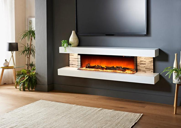 Emery 99-Inch Wall Mount Electric Fireplace