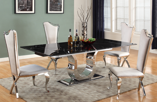 Nadine  Dining Table: Black Marquina Marble, extendable, Polished Horse shoe Stainless steel