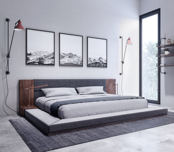 Jennie Modern Dark Grey & Walnut Bed