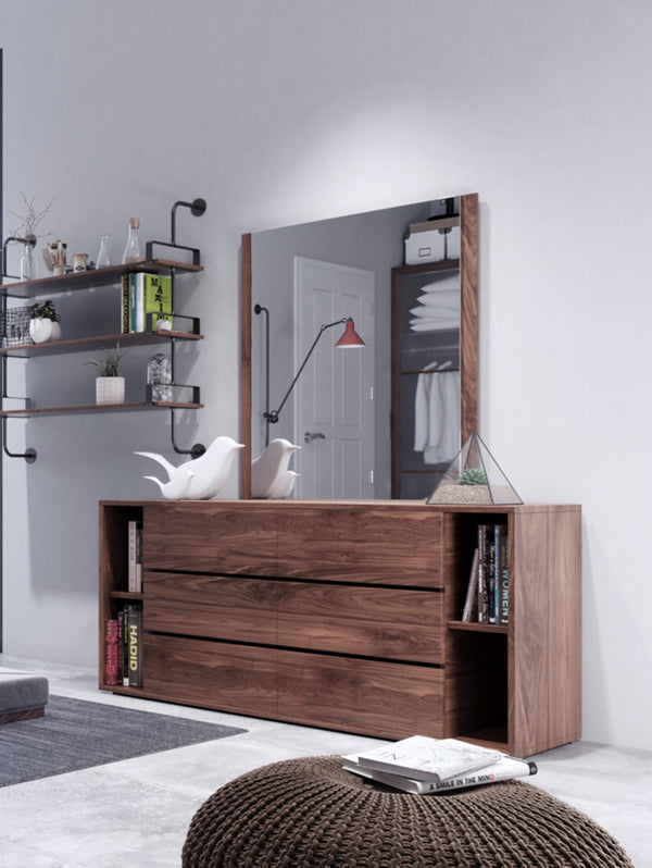 Jennie Modern Dark Grey & Walnut Dresser + Mirror