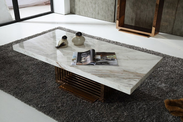 Luxe Modern Marble & Rosegold Coffee Table