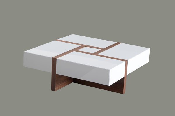 Malibu Modern White & Walnut Square Coffee Table