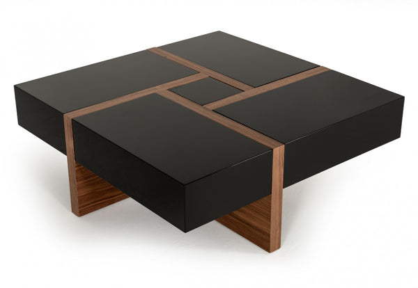 Malibu Modern Black & Walnut Coffee Table
