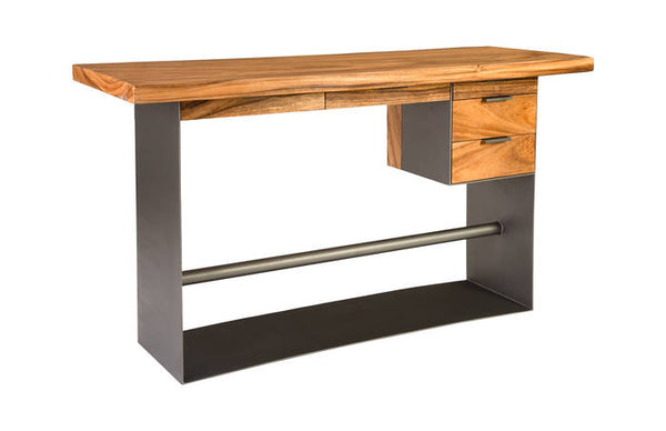 Chamcha Wood Standing Desk, Iron Frame with Drawers, Bar Height - Euro Living Furniture