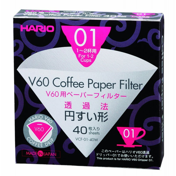 Hario V60 White Filter Papers 01 (40 Sheets)
