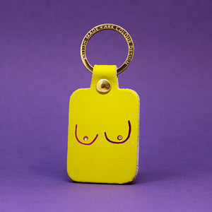 Boobs Leather Key Fob - Yellow