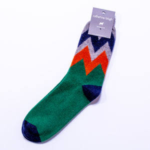 Men's Lambswool Ankle Socks - Green Zigzag